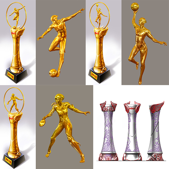 海航集团奖杯设计项目 客户:海航集团(中国) 项目描述: 海航集团是特大型跨国企业集团,位列世界500强企业。ArtPage对接设计师为海航集团每年举办的足球、篮球、乒乓球、羽毛球比赛设计4尊奖杯,项目需要设计师有很强的艺术素养和造型能力,并能准确的把握客户的企业文化。 ArtPage为本项目匹配到资深概念设计师,设计师以高度概括的表现手法刻画出四种运动项目的人物形象,在静态的雕塑上体现出强烈的动态,并在奖杯底座上结合表现海航文化的翅膀、云纹、海水纹图形。设计得到客户高度认可,奖杯将会用在2016年起的海